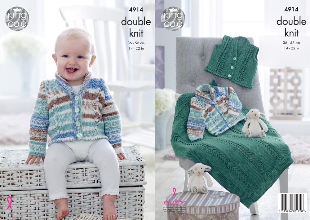 13aa0ac1cc90 King Cole 4914 Knitting Pattern Baby Jacket Waistcoat and Blanket in ...