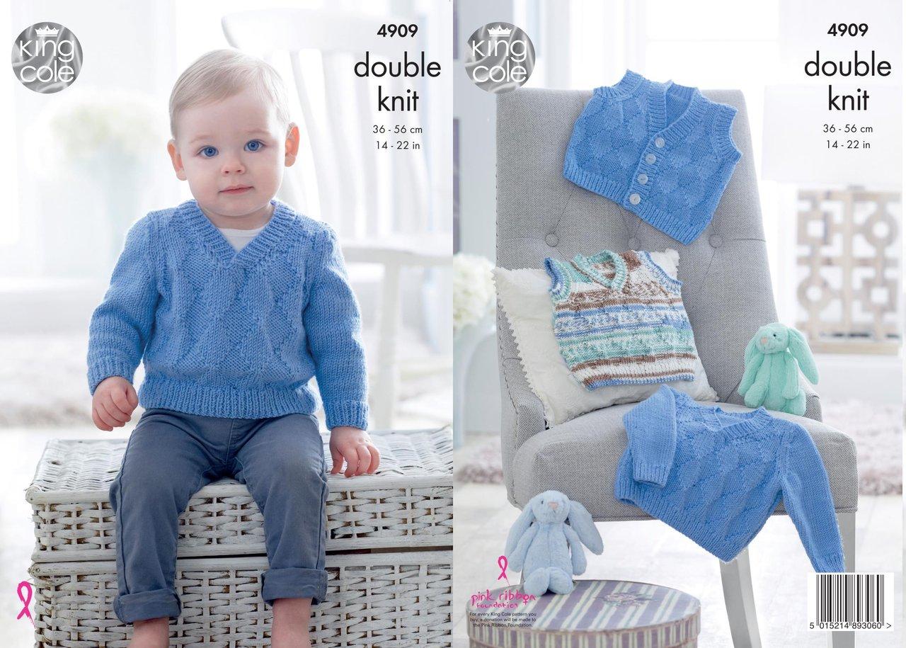 """Easy Knit Jacket,Hat /& Blanket,14/""""-22/"""" King Cole DK  Knitting Pattern 4912"""