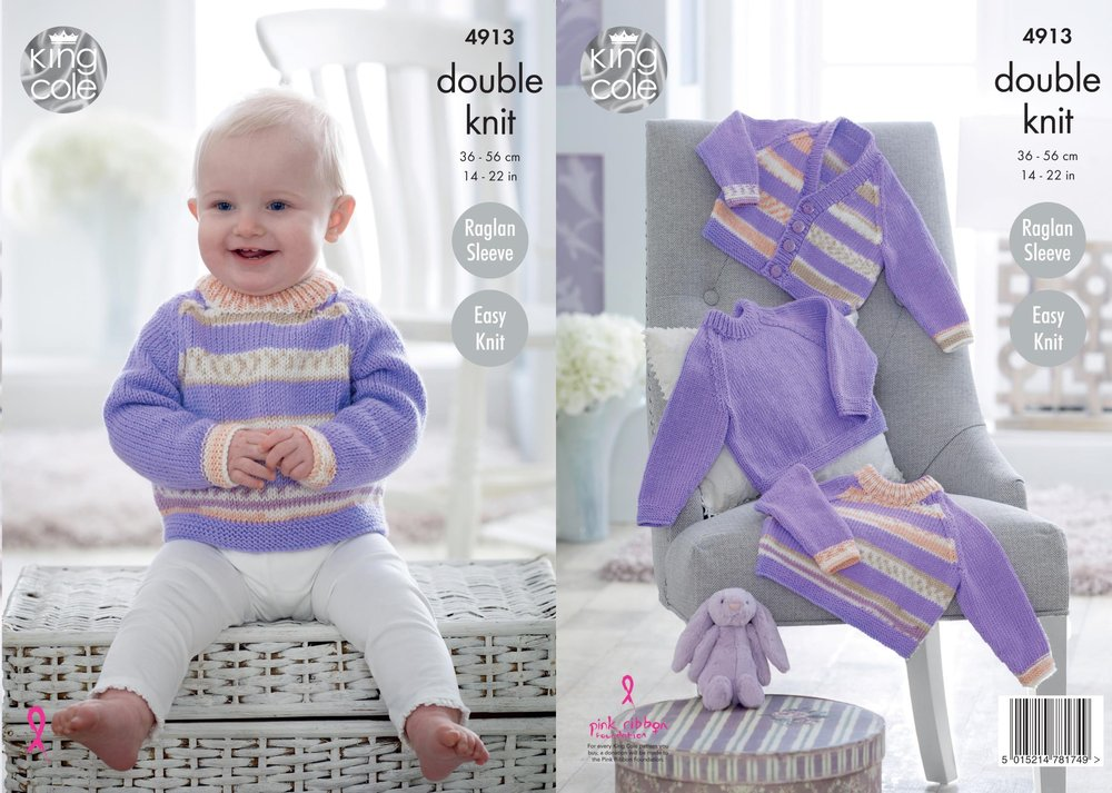99c4b231a9ed7d King Cole 4913 Knitting Pattern Baby Easy Knit Raglan Sweaters   Cardigan  in Cherish   Cherished DK - Athenbys