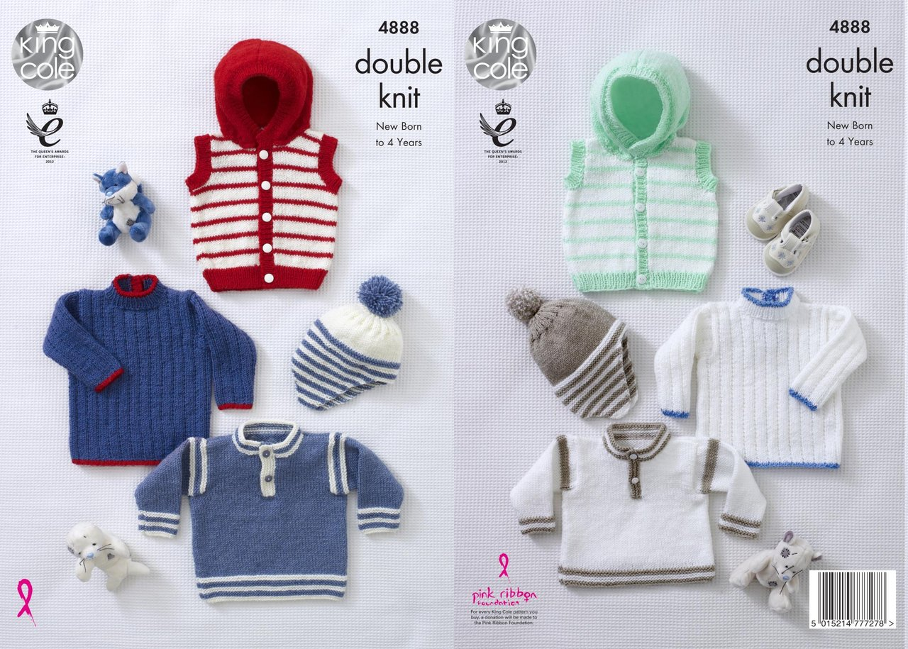 King Cole 4888 Knitting Pattern Baby Childrens Hoodie Sweaters & Hat ...
