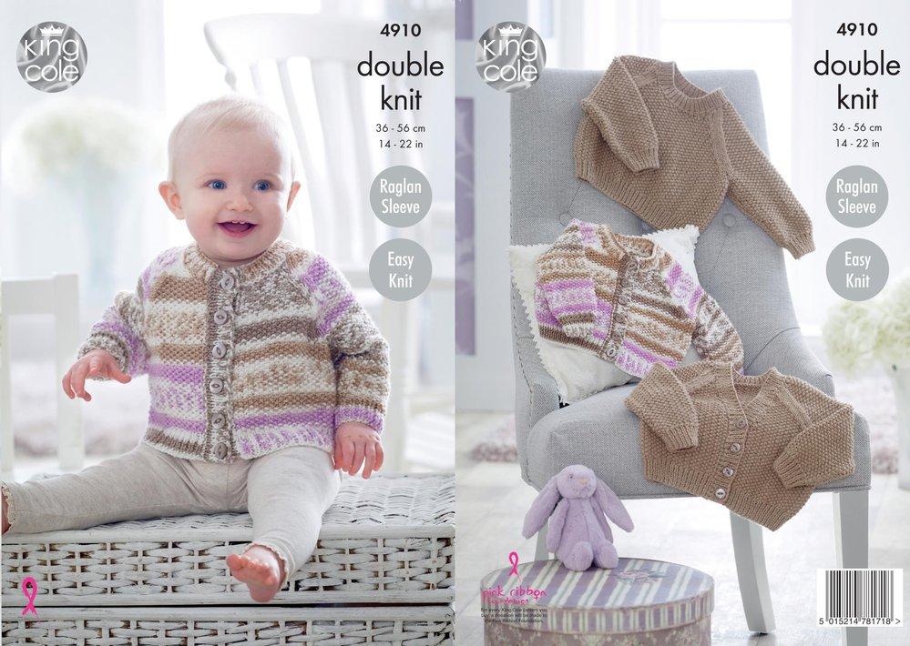 King Cole 4910 Knitting Pattern Baby Easy Knit Raglan Cardigans