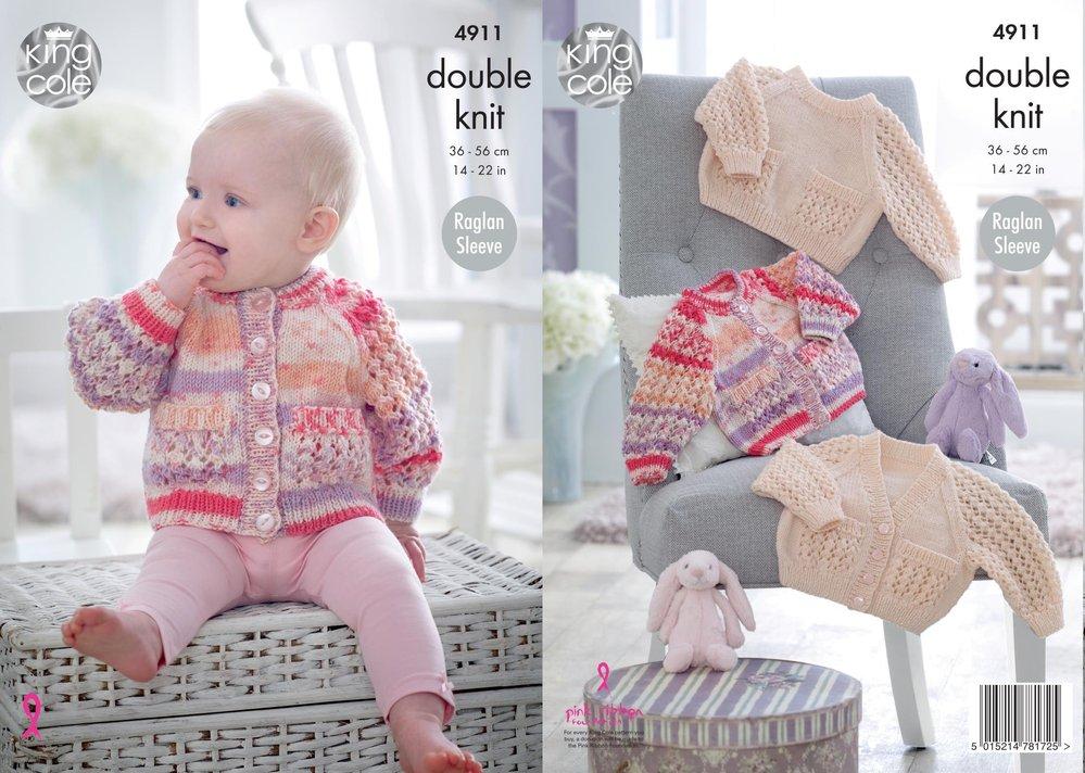 bd0bf4725c50 King Cole 4911 Knitting Pattern Baby Raglan Cardigans   Sweater in ...