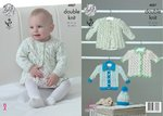 King Cole 4887 Knitting Pattern Baby Cardigans Coat & Hat in Big Value Baby DK & Smarty DK