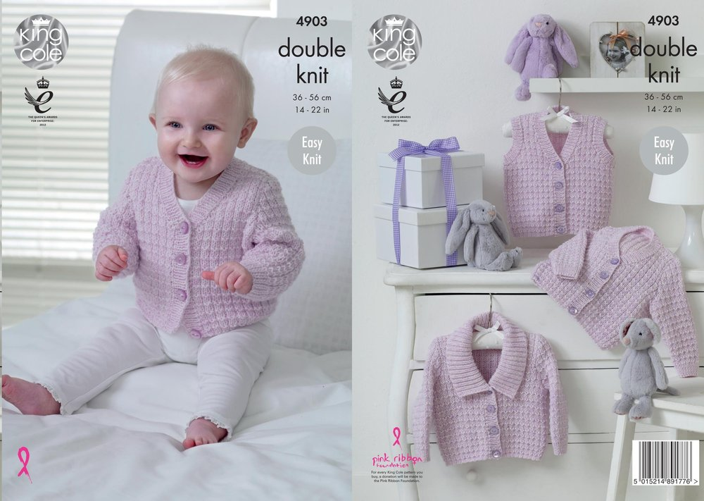King Cole 4903 Knitting Pattern Babies Easy Knit Waistcoat and ...