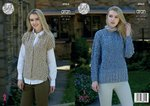 King Cole 4964 Knitting Pattern Sweater and Gilet in King Cole Fashion Aran Combo