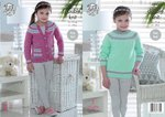 King Cole 4952 Knitting Pattern Girls Longline Sweater and Cardigan in King Cole Baby Glitz DK