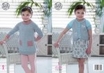 King Cole 4951 Knitting Pattern Girls Easy Knit Tunic and Cardigan in King Cole Baby Glitz DK