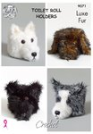 King Cole 9071 Crochet Pattern Dog Toilet Roll Holders in King Cole Luxe Fur