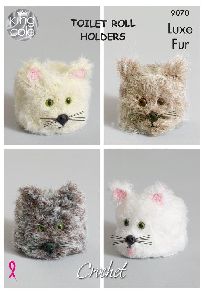 King Cole 9070 Crochet Pattern Cat Toilet Roll Holders in King Cole ...