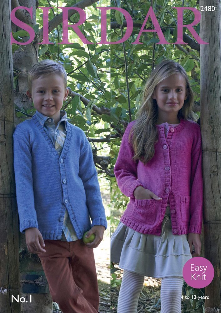 2fd3ef6c7f17 Sirdar 2480 Knitting Pattern Girls Boys Easy Knit Round and V Neck Cardigans  in Sirdar No. 1 DK - Athenbys