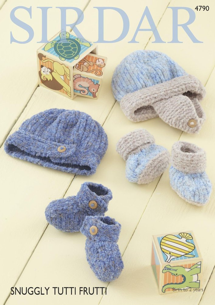 Sirdar 4790 Knitting Pattern Baby Boys Hat Helmet and Bootees in ...