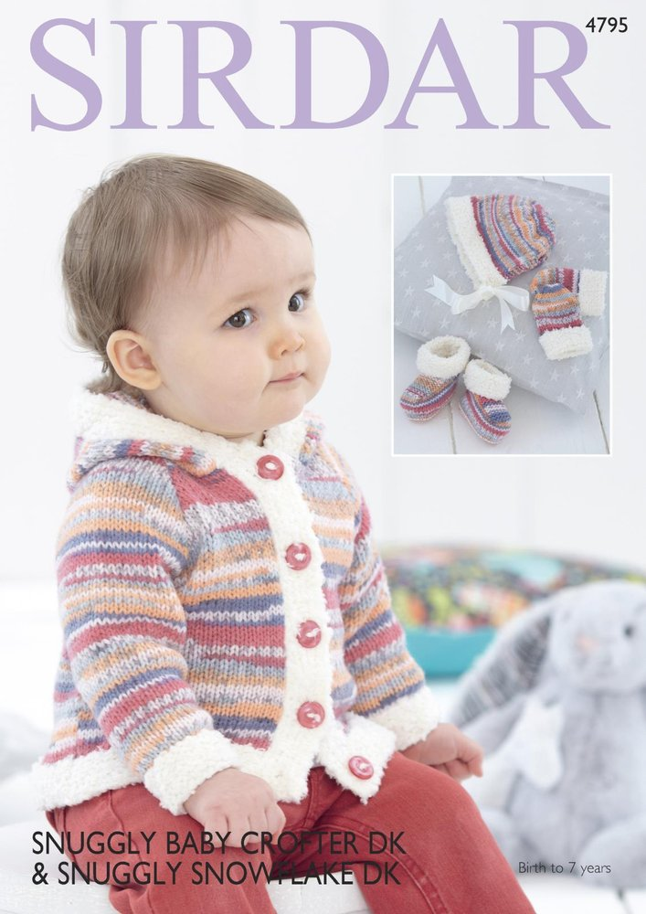 0c805eedca09 Sirdar 4795 Knitting Pattern Jacket Mittens Bootees and Bonnet in ...