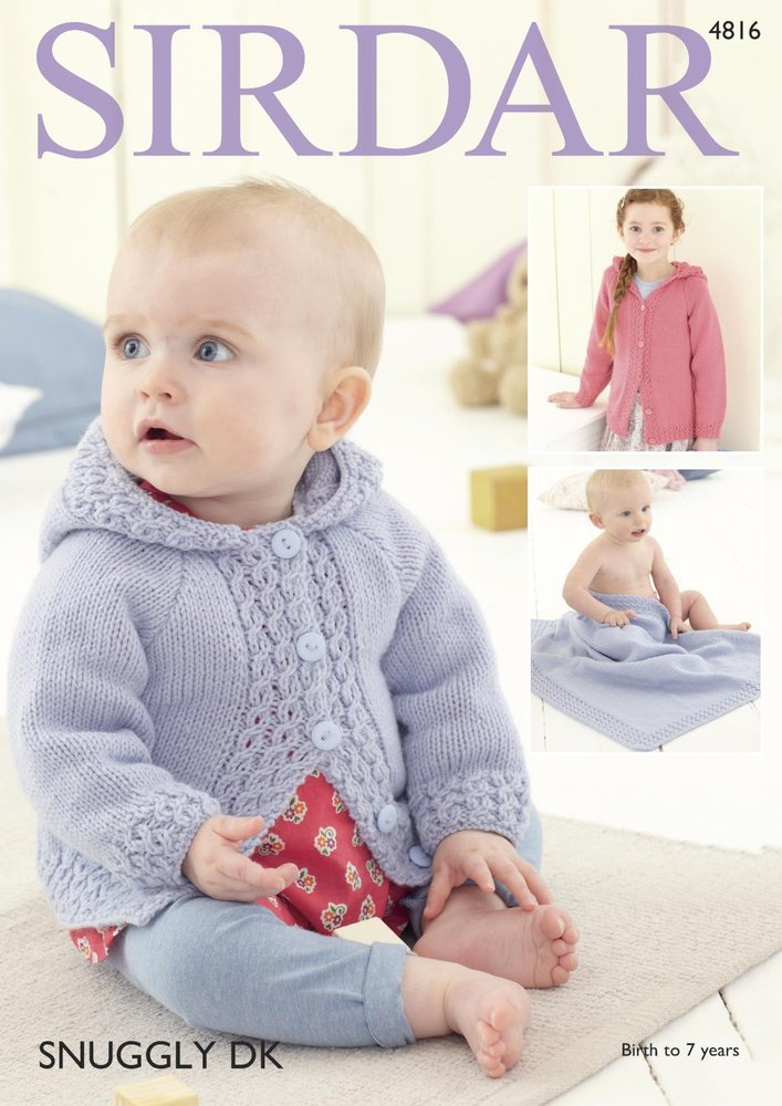 7075d201b Sirdar 4816 Knitting Pattern Baby Girl s Hooded Jacket and Blanket ...