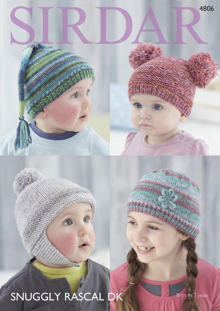 Sirdar 4806 Knitting Pattern Baby Childrens Hats In Sirdar Snuggly