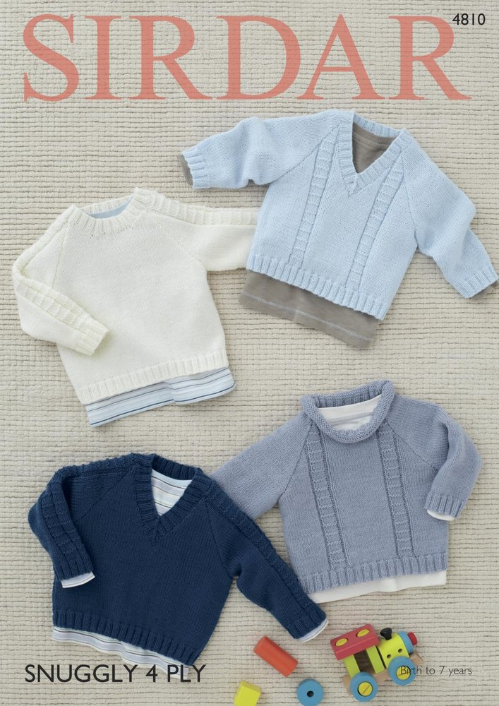 Sirdar 4810 Knitting Pattern Babys Sweaters In Sirdar Snuggly 4 Ply