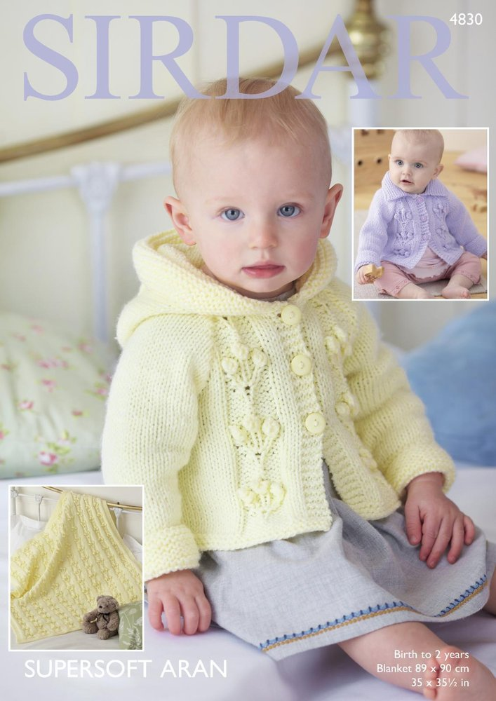 Sirdar 4830 Knitting Pattern Baby Hooded And Flat Collared Jackets