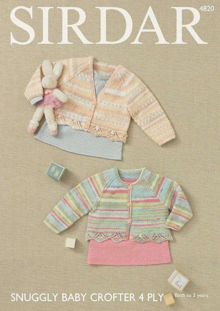 0ddd5c97dbba Sirdar 4820 Knitting Pattern Baby Girl s V and Round Neck Cardigans ...