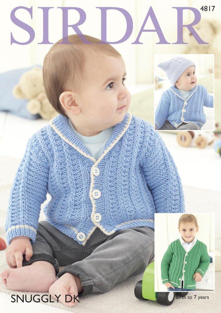 29ea9913b Sirdar 4817 Knitting Pattern Baby Childrens Cardigans in Sirdar Snuggly DK  - Athenbys
