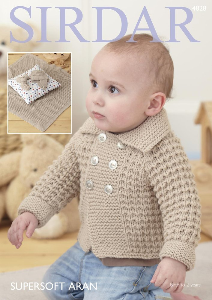 Sirdar 4828 Knitting Pattern Baby Boy\'s Jacket Blanket Helmet and ...