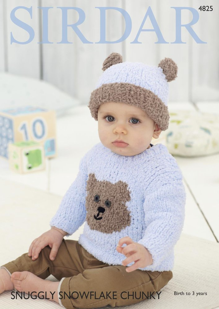 Sirdar 4825 Knitting Pattern Teddy Bear Sweater And Hat In Sirdar