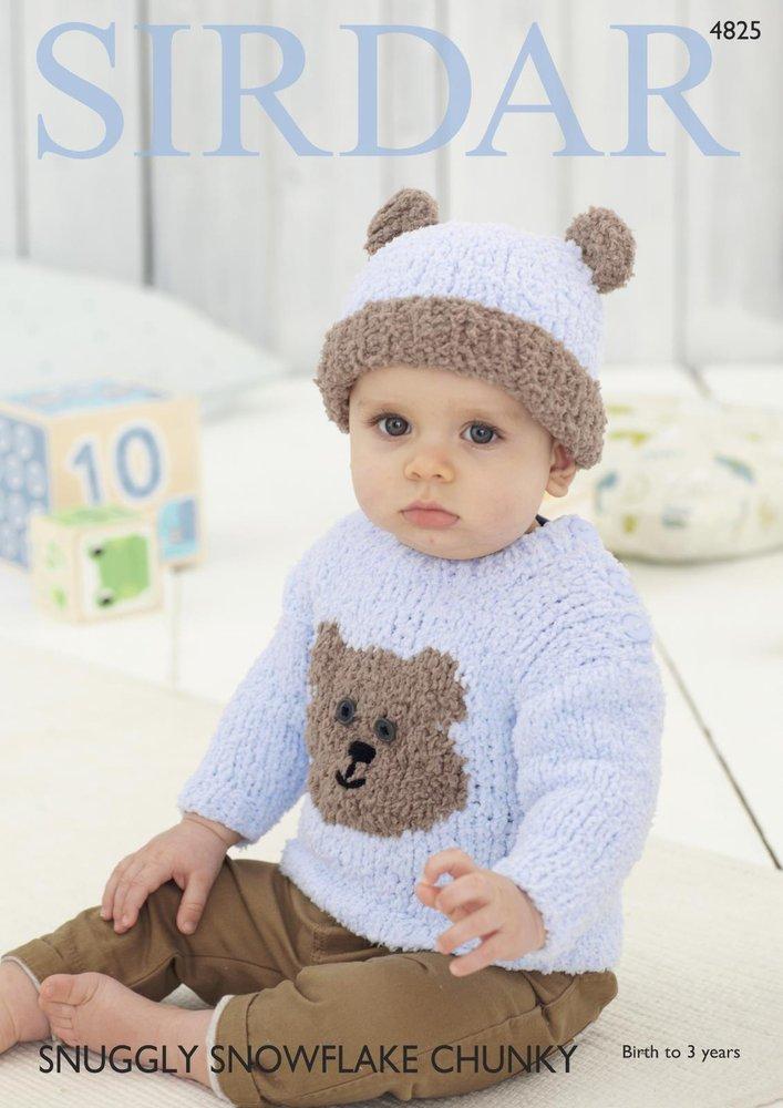 Sirdar 4825 Knitting Pattern Teddy Bear Sweater and Hat in Sirdar ...