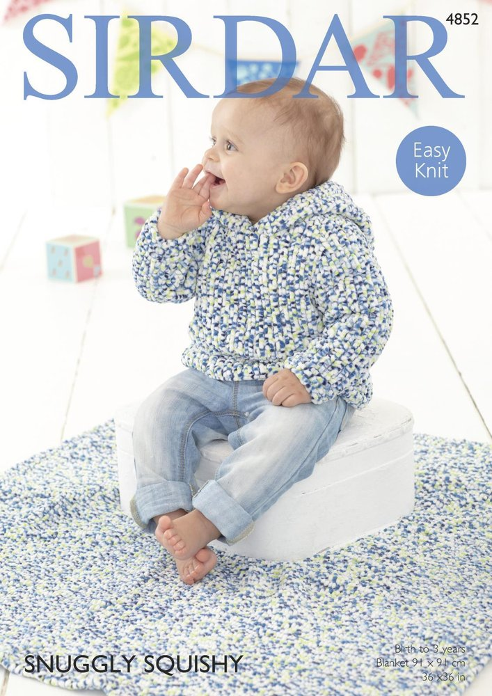 Sirdar 4852 Knitting Pattern Baby Hooded Sweater and Blanket in ...