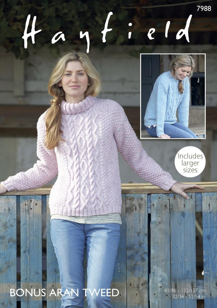 Sirdar 7988 Knitting Pattern Womens Round And Cowl Neck Sweaters In