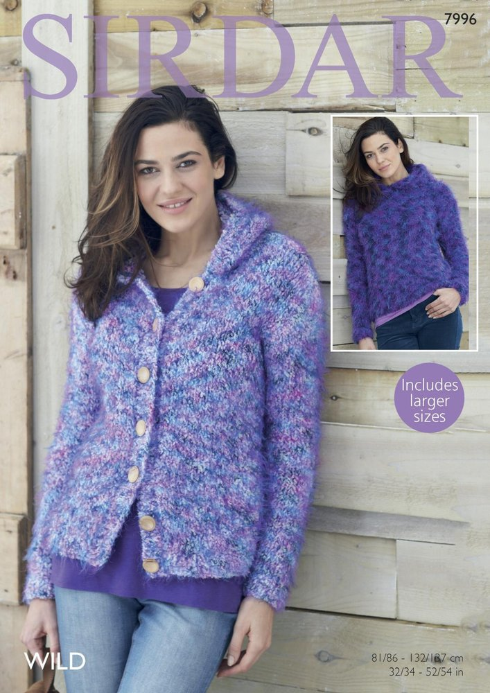 75daf2aae7ed7 Sirdar 7996 Knitting Pattern Womens Hooded Sweater and Jacket in Sirdar Wild  - Athenbys