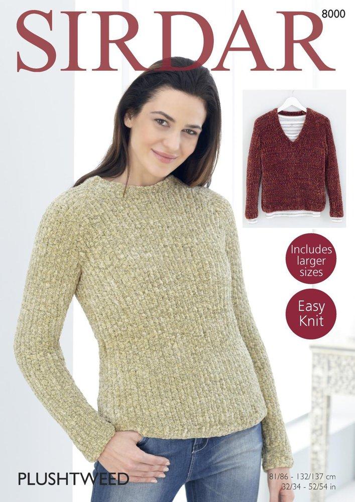 Sirdar 8000 Knitting Pattern Womens Easy Knit Round and V Neck ...