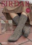 Sirdar 8010 Knitting Pattern Womens Stocking Stitch and Cabled Socks in Sirdar Harrap Tweed DK
