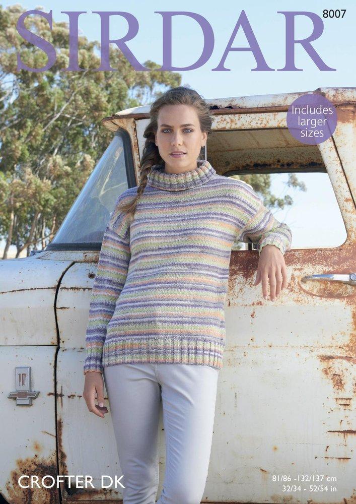 Sirdar 8007 Knitting Pattern Womens Cowl Neck Sweater in Sirdar ...