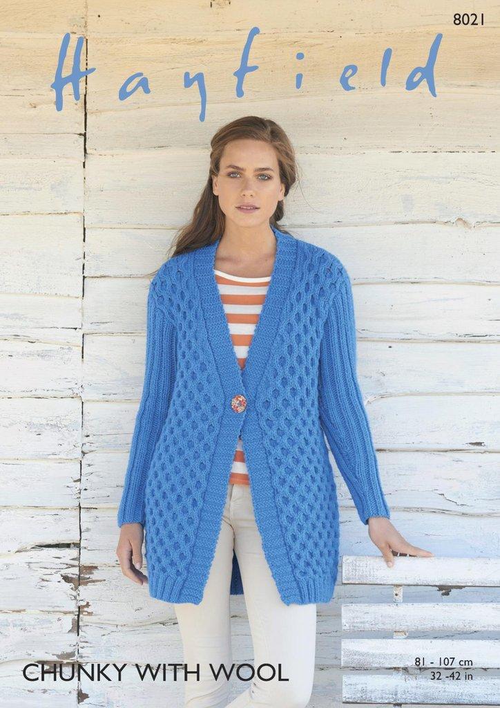 Sirdar 8021 Knitting Pattern Womens Jacket / Cardigan in Hayfield ...