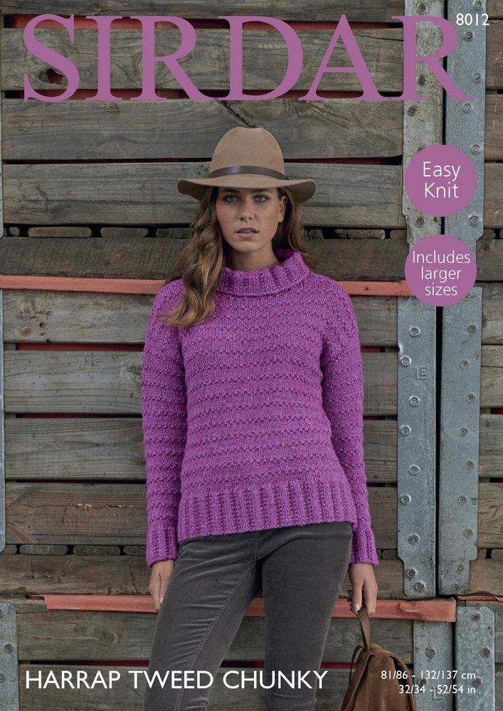 86cd0e86f41c Sirdar 8012 Knitting Pattern Womens Easy Knit Tunic Sweater in Sirdar  Harrap Tweed Chunky - Athenbys