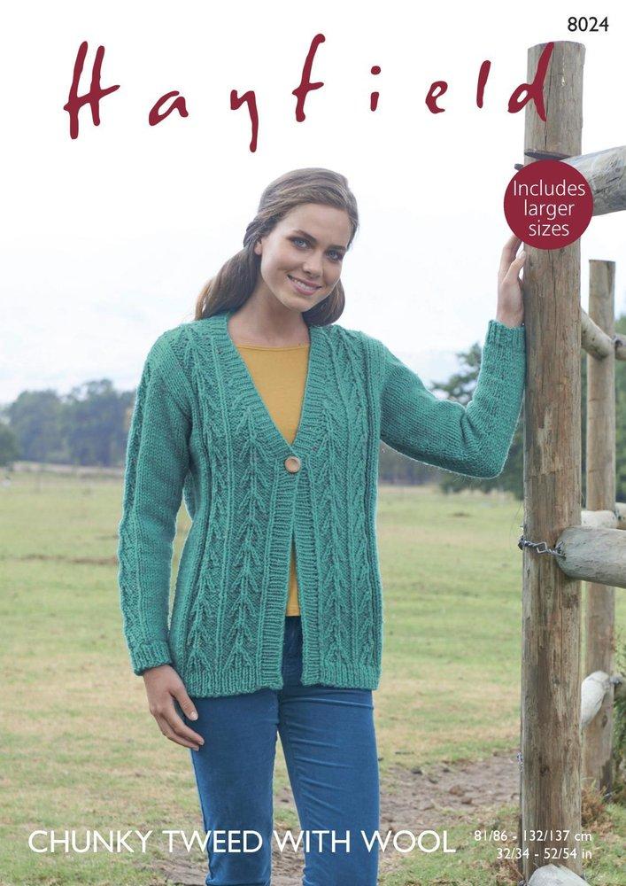 Sirdar 8024 Knitting Pattern Womens V Neck Cardigan in Hayfield ...