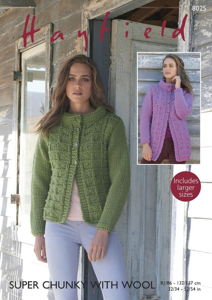 580c7321a56521 Sirdar 8025 Knitting Pattern Womens Long and Short Jackets in Hayfield  Super Chunky with Wool - Athenbys