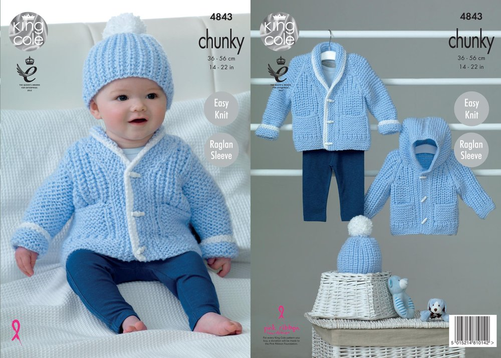 King Cole 4843 Knitting Pattern Baby Easy Knit Raglan Jackets And