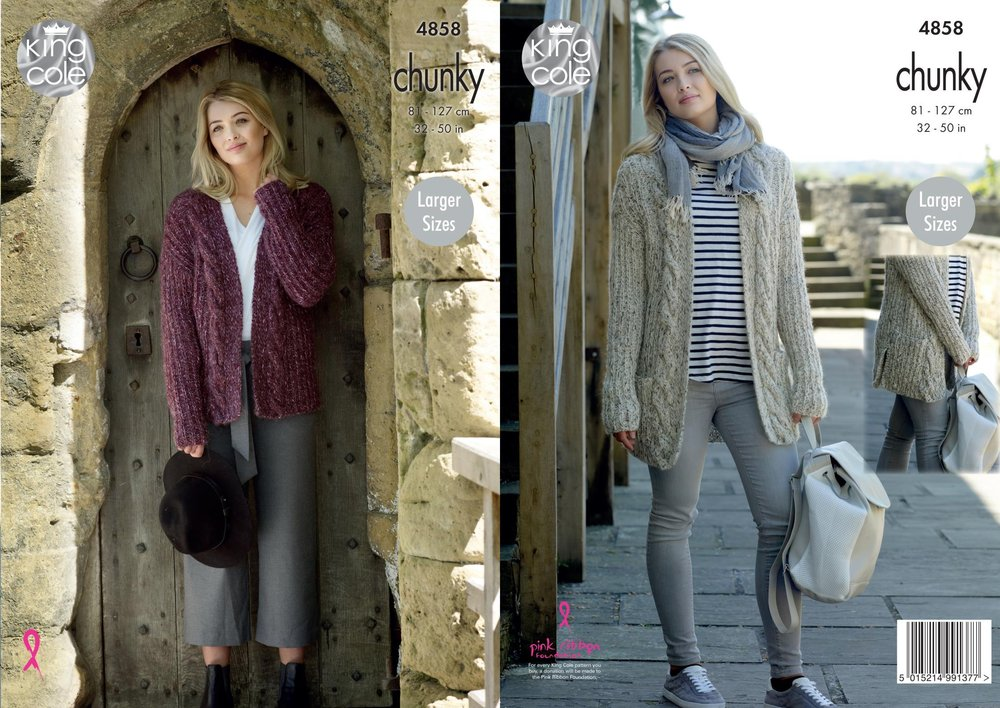 15790c262a74 King Cole 4858 Knitting Pattern Womens Jacket and Cardigan in King Cole  Indulge Chunky - Athenbys