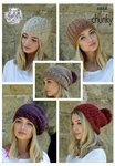 King Cole 4864 Knitting Pattern Womens Hats in King Cole Indulge Chunky