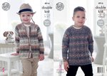 King Cole 4916 Knitting Pattern Childrens Raglan Sleeve Sweater and Cardigan in King Cole Splash DK