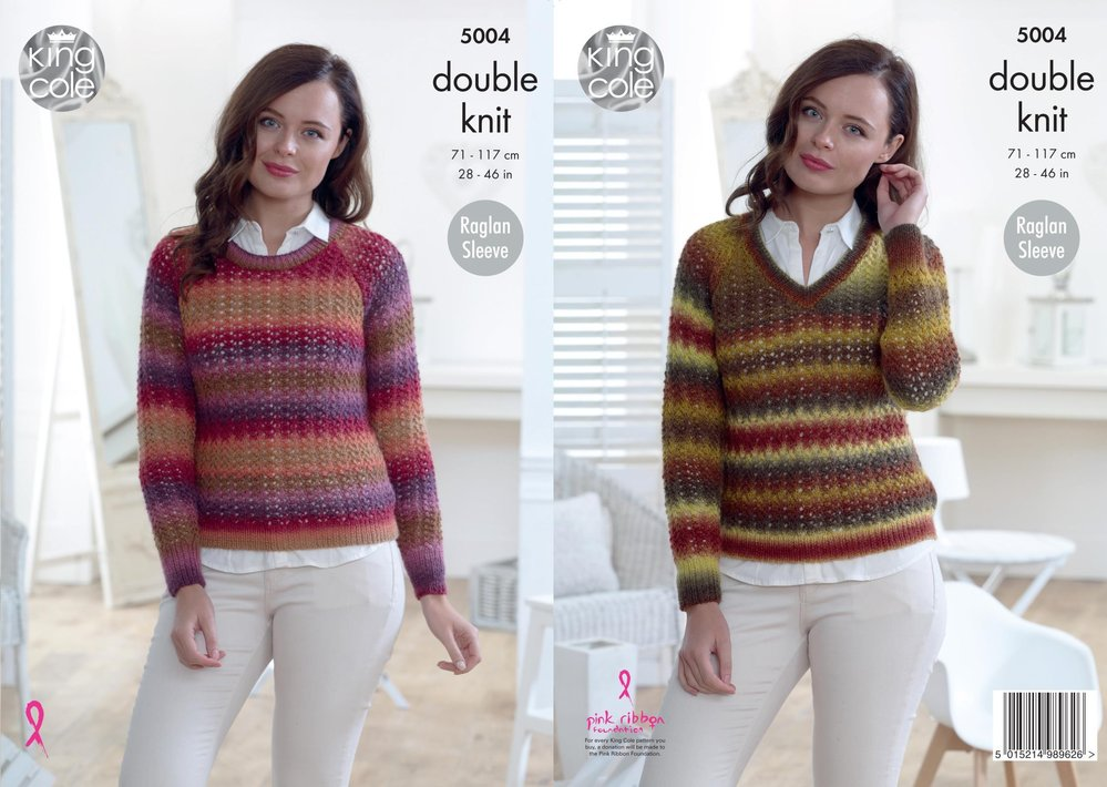 King Cole 5004 Knitting Pattern Womens Raglan Sleeve Round And V