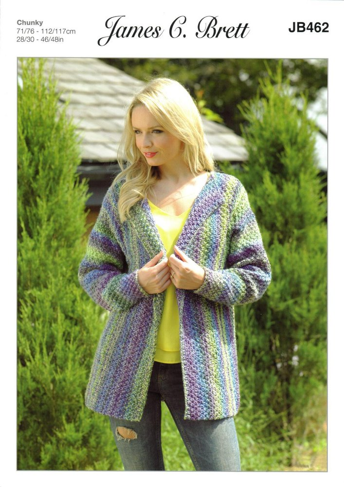 4317a91df James C Brett JB462 Knitting Pattern Womens Jacket in James C Brett Marble  Chunky - Athenbys