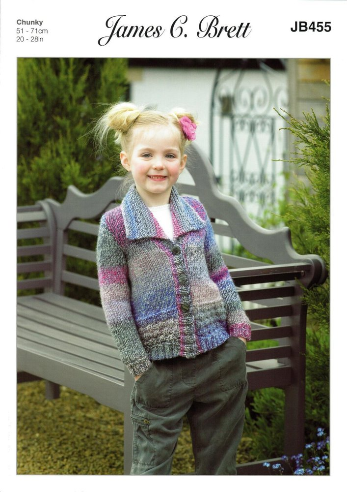 7bc531d85d63a James C Brett JB455 Knitting Pattern Girls Collared Cardigan in James C  Brett Marble Chunky - Athenbys