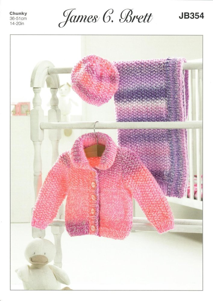 88056881e James C. Brett JB354 Knitting Pattern Baby Jacket Hat and Blanket in Baby  Marble Chunky - Athenbys