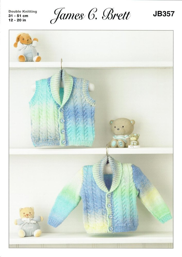 7298dbe6e James C. Brett JB357 Knitting Pattern Baby Cardigan and Waistcoat in Baby  Marble DK - Athenbys