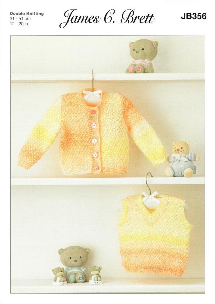 43eaedf7e James C. Brett JB356 Knitting Pattern Baby Cardigan and Slipover in Baby Marble  DK - Athenbys