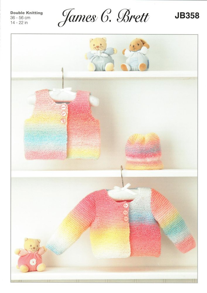 35e26d4fa James C. Brett JB358 Knitting Pattern Baby Girls Cardigan Waistcoat and Hat  in Baby Marble DK - Athenbys