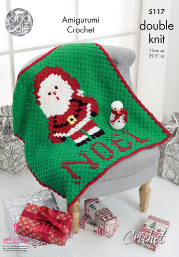 King Cole 5117 Crochet Pattern Christmas Blanket & Amigurumi Snowman in Pricewise DK & Dolly Mix DK