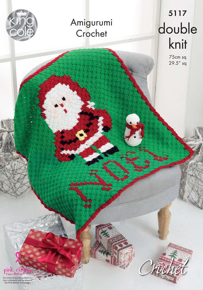 King Cole 5117 Crochet Pattern Christmas Blanket Amigurumi Snowman