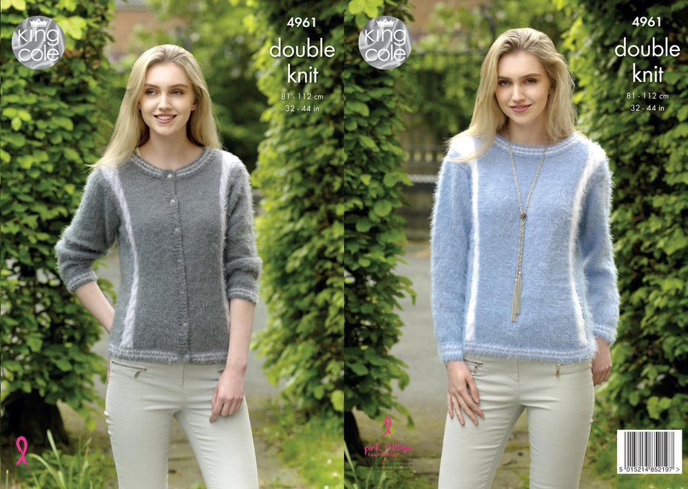 King Cole 4961 Knitting Pattern Womens Cardigan And Sweater In King