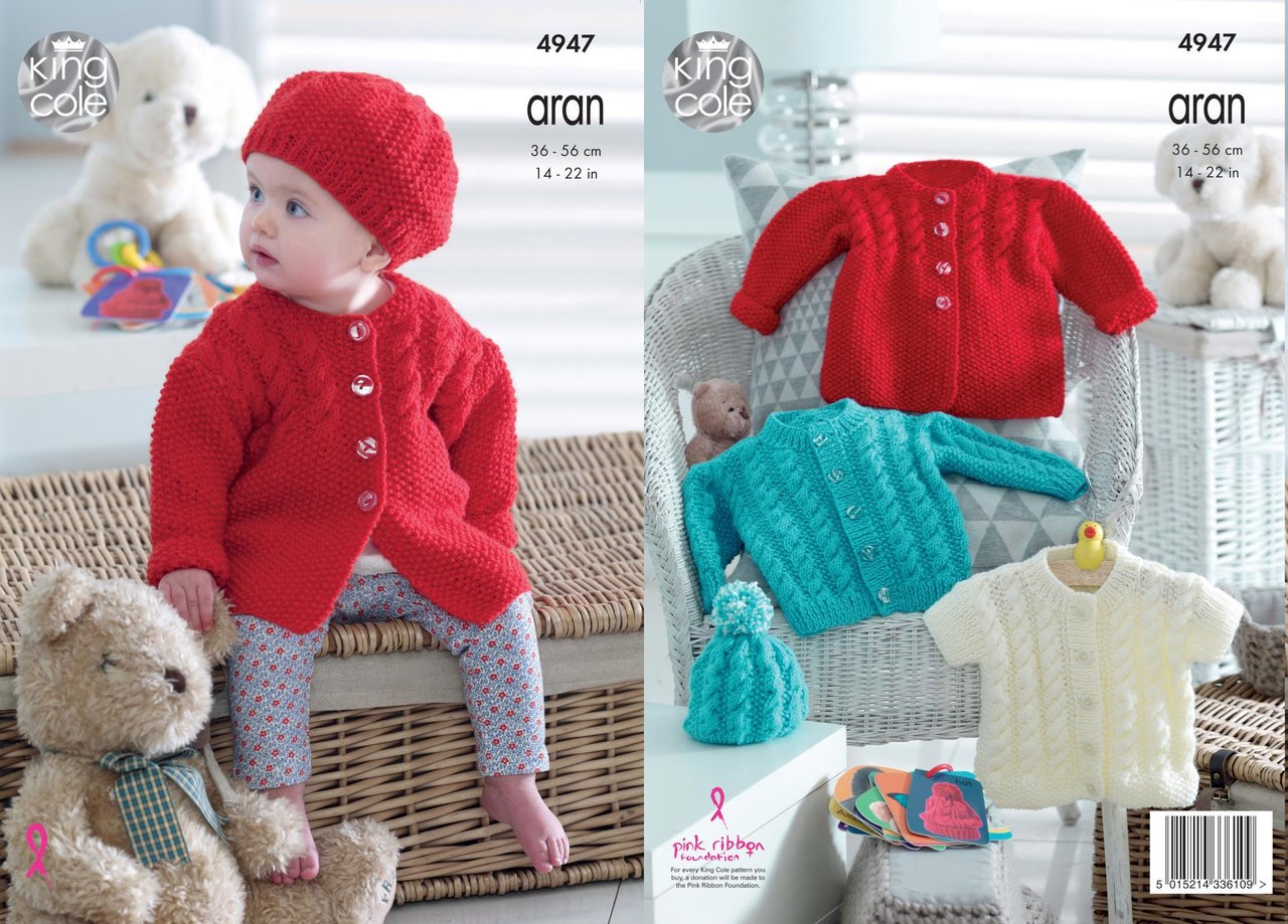 King Cole 4947 Knitting Pattern Baby Childrens Cardigan Jacket and ...